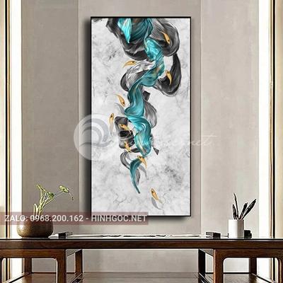 Tranh treo tường, đàn cá vàng, dải vân nghệ thuật-PLT-S-1612