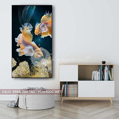 Tranh treo tường, đôi cá chọi bơi lội trong bể nước tuyệt đẹp-PLT-S-1634