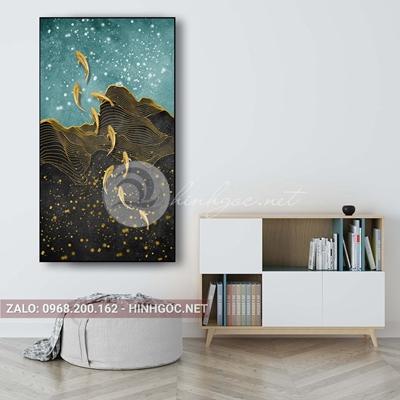 Tranh treo tường, dải vân vàng kim, đàn cá vàng nghệ thuật-PLT-S-1646