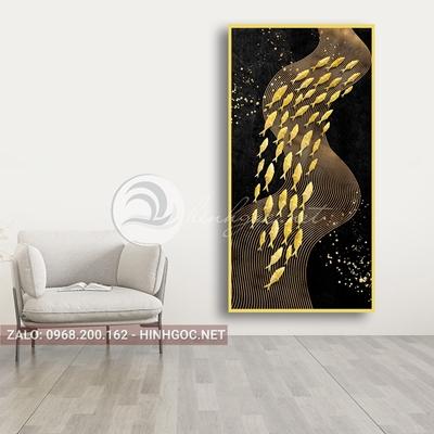 Tranh trừu tượng, đàn cá vàng bơi dải vân vàng kim-PLT-S-1656