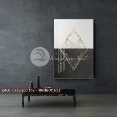 Tranh treo tường, hình thoi họa tiết vàng kim đẹp-PLT-S-1736