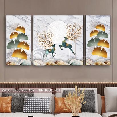 Tranh bộ 3 bức đôi hươu bay, hình tròn, lá nghệ thuật-PLT-S-C