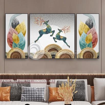 Tranh bộ 3 bức đôi hươu bay lá sắc màu nghệ thuật-PLT-S-D