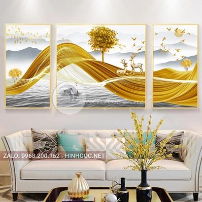 Tranh bộ 3 bức ghép đôi hươu vàng tỏ tình trên dải vân vàng nghệ thuật-PLT-S-E