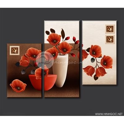 Tranh 3D bình hoa - PTL09