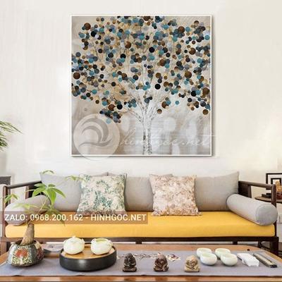 Tranh trang trí, hoa lá cây sắc màu-QART-100