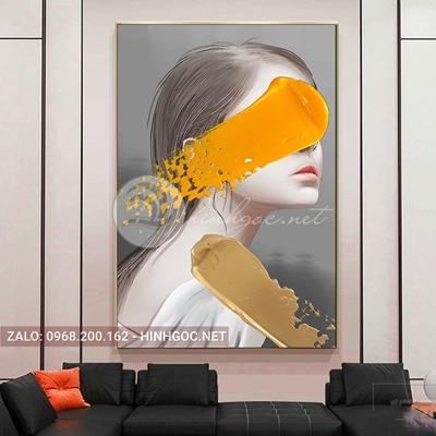 Tranh chân dung, thời trang cô gái ấn tượng-QART-104