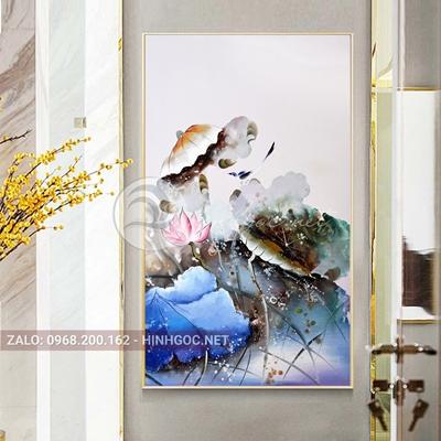 Tranh hoa sen nở đẹp-QART-197