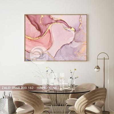 Tranh trừu tượng, màu hồng viền vàng kim-QART-20