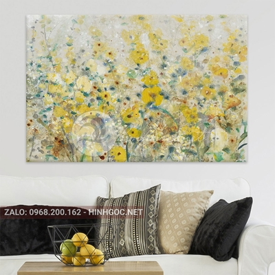 Tranh hoa lá, vườn hoa vàng nở đẹp-QART-22