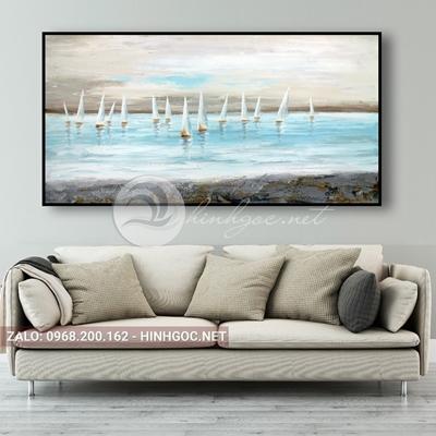 Tranh phong cảnh biển, những chiếc thuyền trên bãi biển-QART-69