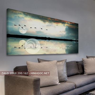 Tranh phong cảnh biển, chim bay trên bầu trời-QART-72
