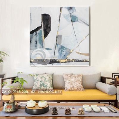 Tranh trừu tượng, sắc màu độc đáo hình line art-QART-77