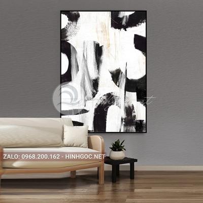 Tranh trừu tượng, nghệ thuật đen trắng-QART-81