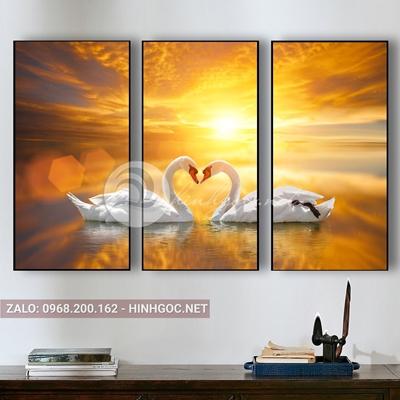 Tranh uyên ương, bộ 3 bức, đôi chim thiên nga hạnh phúc-QART-83