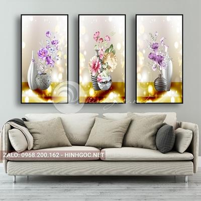 Tranh lọ hoa, bộ 3 bức lọ hoa đẹp-QART-91