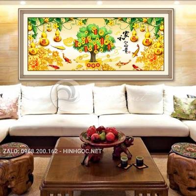 Tranh trang trí tết, quả bầu vàng và cây lộc tiền-QART-93
