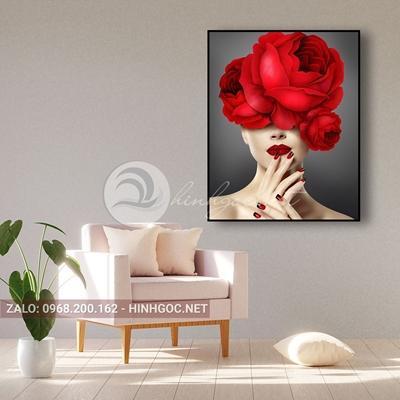 Tranh chân dung, thời trang cô gái cài hoa hồng đỏ-QART-99