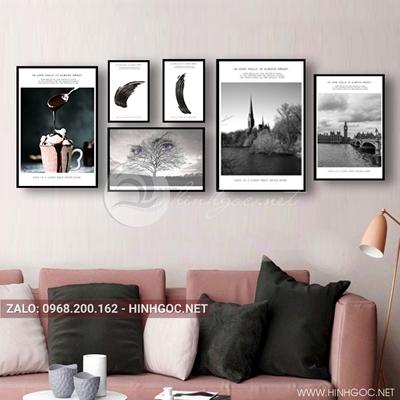 Tranh bộ 6 bức, tranh phong cảnh, cảnh biển và cốc kem ly-QDS-106