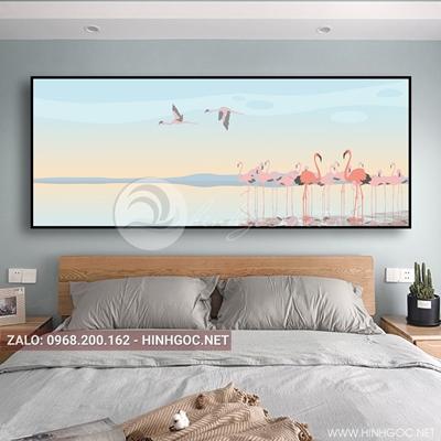 Tranh treo tường, bộ chim hồng hạc đẹp-QDS-108