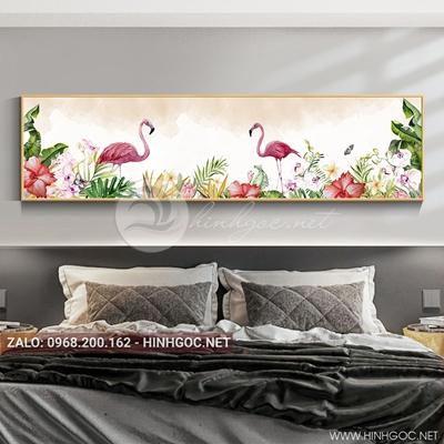 Tranh treo tường, đôi chim hồng hạc và hoa lá tuyệt đẹp-QDS-112