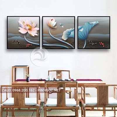 Tranh bộ 3 bức ghép, tranh hoa sen và cá chép-QDS-113