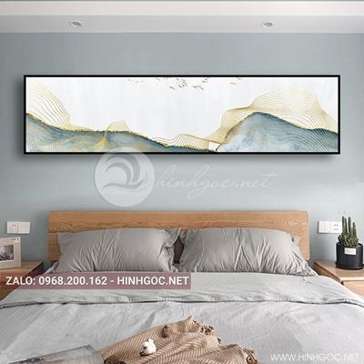 Tranh treo tường, dải vân vàng kim, xanh và chim trừu tượng-QDS-115