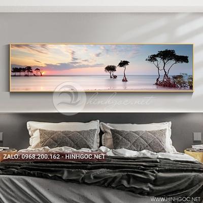 Tranh treo tường, tranh phong cảnh biển và cây-QDS-117