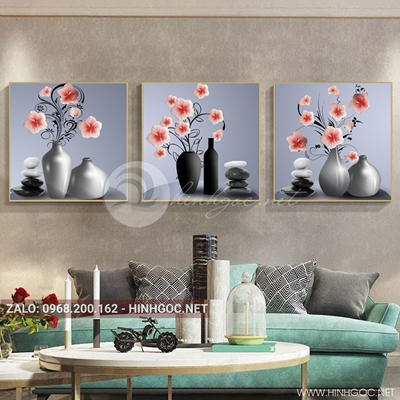 Tranh bộ 3 bức, tranh lọ hoa nở tươi mới-QDS-129