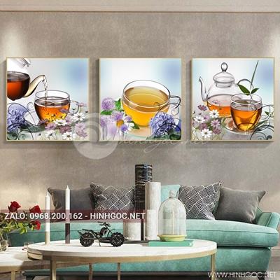 Tranh bộ 3 bức, lọ hoa và ly trà nóng cho ngày mới năng lượng-QDS-133