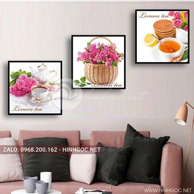 Tranh bộ 3 bức, giỏ hoa và ly trà nóng cho ngày mới vui vẻ-QDS-134