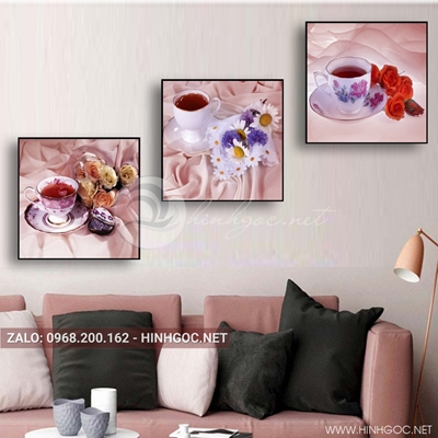 Tranh bộ 3 bức, hoa và ly trà nóng cho ngày yêu thương-QDS-136