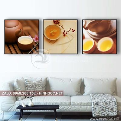 Tranh bộ 3 bức, hoa và ly trà nóng cho ngày yêu thương-QDS-137
