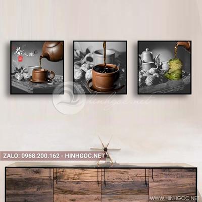 Tranh bộ 3 bức, tranh ẩm thực ấm trà và ly trà nóng buổi sáng-QDS-139