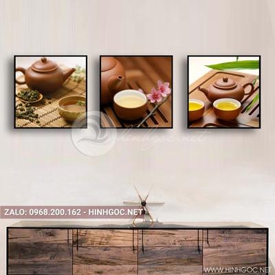 Tranh bộ 3 bức, tranh ẩm thực ly trà bên cuốn sách-QDS-140