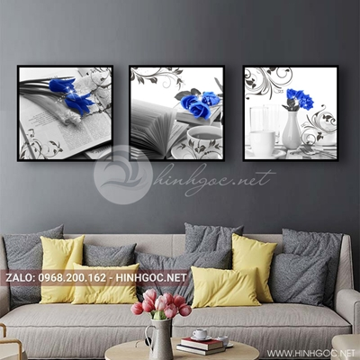 Tranh bộ 3 bức, tranh ẩm thực ly trà và bông hoa hồng-QDS-141