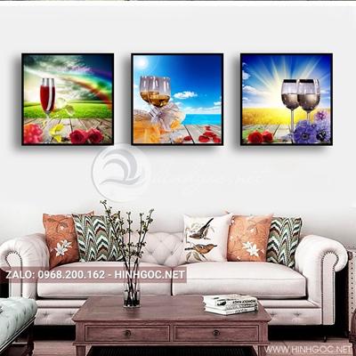 Tranh bộ 3 bức, tranh ẩm thực rượu vang và ly nghệ thuật-QDS-142