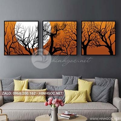 Tranh bộ 3 bức, cây cổ thụ ghép nghệ thuật-QDS-144