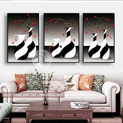Tranh bộ 3 bức, tranh lọ hoa nở trang trí tường-QDS-149
