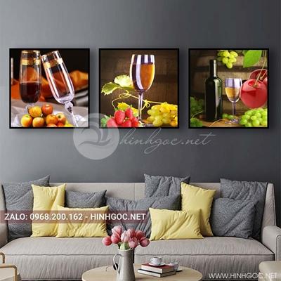 Tranh bộ 3 bức, tranh ẩm thực chiếc ly và hoa quả-QDS-150