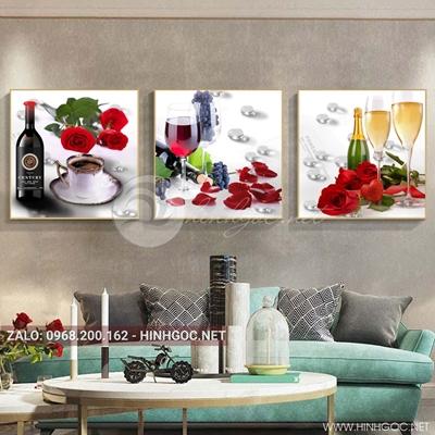Tranh bộ 3 bức, tranh ẩm thực chiếc ly và hoa quả-QDS-151