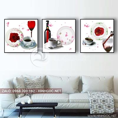 Tranh bộ 3 bức, tranh ẩm thực chiếc ly, đĩa và hoa quả-QDS-152