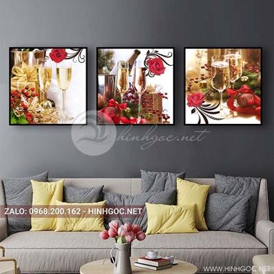 Tranh bộ 3 bức, tranh ẩm thực chiếc ly, hoa hồng, đĩa và hoa quả love-QDS-153