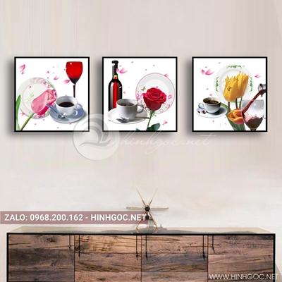 Tranh bộ 3 bức, tranh ẩm thực chiếc ly, hoa hồng, đĩa và hoa quả love-QDS-154