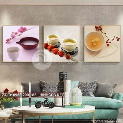 Tranh bộ 3 bức, tranh ẩm thực chiếc ly, hoa hồng, đĩa và hoa quả love-QDS-155