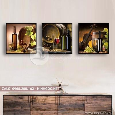 Tranh bộ 3 bức, tranh ẩm thực chiếc ly, chai rượu vang nho và cây đàn-QDS-156