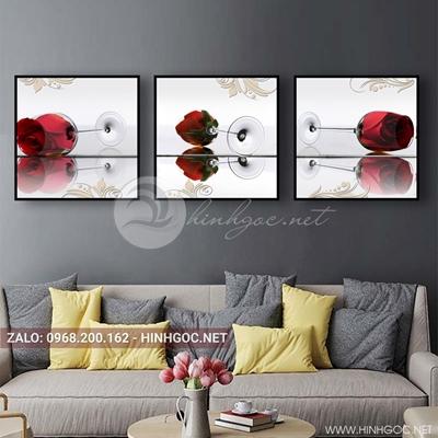 Tranh bộ 3 bức, tranh ẩm thực chiếc ly hoa hồng love-QDS-158