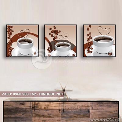 Tranh bộ 3 bức, tranh ẩm thực ly cà phê love-QDS-159