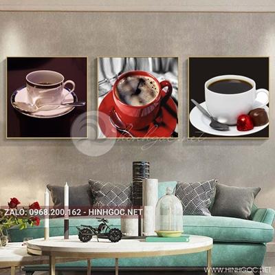 Tranh bộ 3 bức, tranh ẩm thực ly cà phê năng lượng love-QDS-160