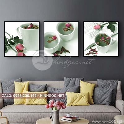 Tranh bộ 3 bức, tranh ẩm thực cốc nước hoa hồng love-QDS-161
